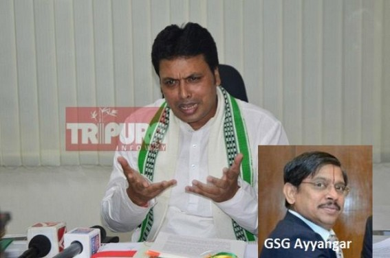 Biplab's choice of GSG Ayyangar likely to spell doom for BJP Govt