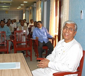 Smiling CM at CPIM State committee meeting in Melarmath Party Office. TIWN Pic March 5