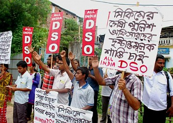 DSO representatives protesting at Womens College, Agartala. TIWN Pic July18