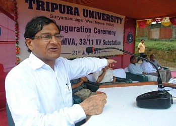 Minister Manik Dey addressing the inaugural ceremony of 33-11 KV sub-station at TU. TIWN Pic July21