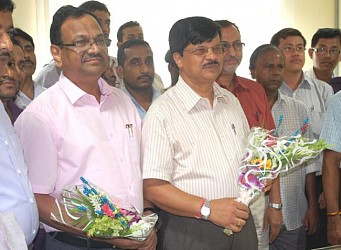 New Chief Secretary G K Rao and S K Panda at secretariat in Agartala. TIWN Pic July 31
