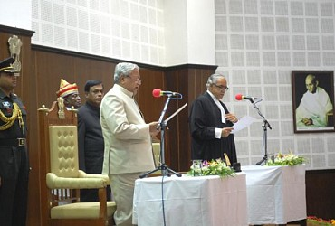 Newly appointed Governor of Tripura Padhanava Balakrishna Acharya taking oath. TIWN Pic July21