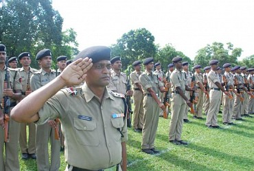 Preparation for Independence Day parade at Assam Rifle Ground Agartala. TIWN Pic July 31