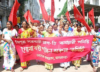 Tripura Govt. Group-D employes organise a rally at Gurkhabasti. TIWN Pic July26