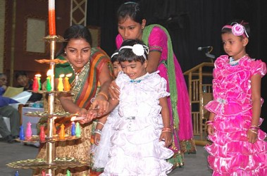 Orphan Childs Lighting Lamp on International Women Day 2014 programme at Town Hall in Agartala. TIWN Pic March 8