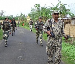 TTAADC Election :BSF patrolling in Khowai. TIWN Pic April 25