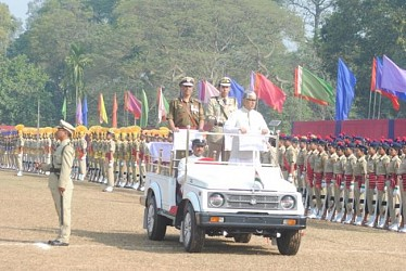 CM Manik Sarkar inspecting colourful Parade at AR ground. TIWN Pic Jan 26