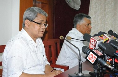 CPI-M state secretary Bijan Dhar addressing a press meet at Melarmath party office. TIWN pic Feb 28