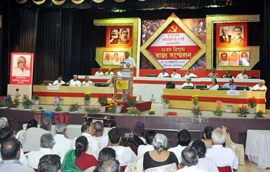 GS of CPI (M) Prakash Karat addressing in the state conference at Town Hall. TIWN Pic Feb 26
