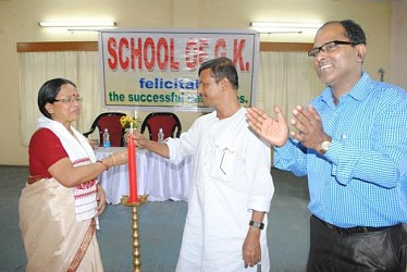 Minister Ratan Bhowmik inaugurates felicitation programme of School of GK at Pres Club Agartala. TIWN Pic Mar 1