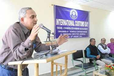Prof Tushar Chakraborty during his address  in International Customs Day at Akhuara ICP. TIWN Pic Jan 27