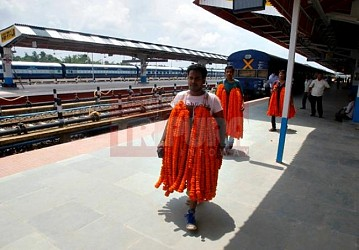 Preparation on peak for Agartala-Delhi train inauguration at Agartala Railway Station. TIWN Pic July 30