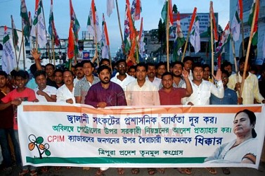 TMC held protest rally against fuel crisis at Agartala. TIWN Pic July 30