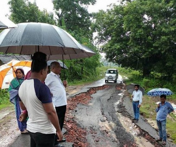 Pathetic condition of road after flood at Sonamura