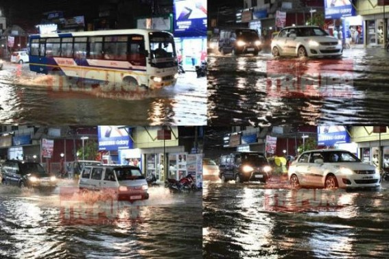 Rs. 360 crores AMC budget ! Waterlog puzzle hits Agartala City on Wednesday evening : all roads blocked, vehicles stranding