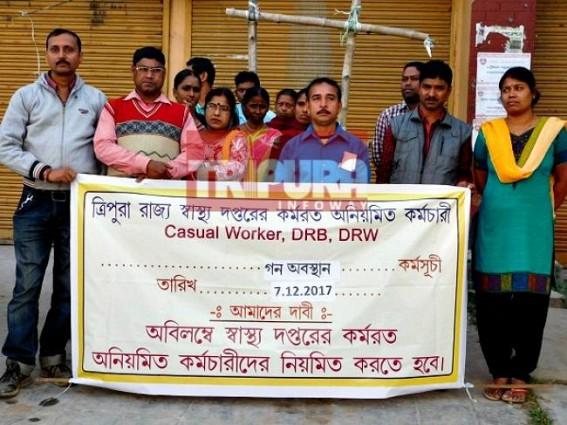 Health Dept's irregular employees protest demanding regularization