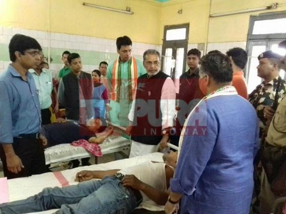 Central BJP Minister slams CPI-M : alleges a 'shameful era under Manik Sarkar' after meeting injured BJP suporters at GB Hospital