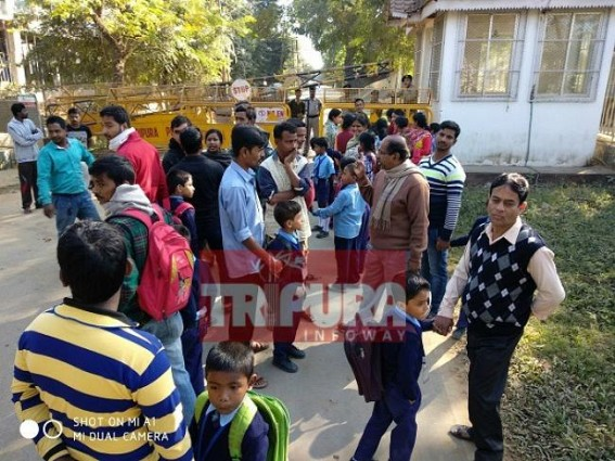 Football hits Class-II Students : Umakanta Academy's Primary Students  place deputation to Tapan Chakraborty