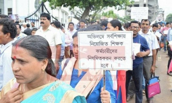 Tripura SSA teachers' Pen Down Strike from Monday : Arrogant Tripura Education Minister yet to address SSAs