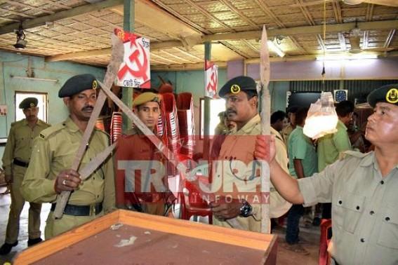 CPI-M, Sitaram Yechury, Manik Sarkar's false-propaganda Exposed !!! Dangerous arms recovered from Battala CITU Office