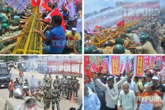 CPI-M observes 'Jail-Bharo Andolon' in BJP-ruled Tripura : Tear Gas, Water Canons used to disperse agitators, massive turnouts unnerved BJP Govt