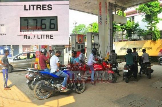 'Bhakts' celebrate 5 rupees down in fuel price : Petrol price still Rs. 77.66 in Agartala, Diesel Rs.70.79