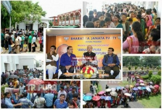 'One Job for each Tripura household,One Degree College in each constituency in State, Free Mobile to all Tripura Youths'  : BJP's Vision Document turned FAKE promises, mass-cheating by Biplab's JUMLA brigade