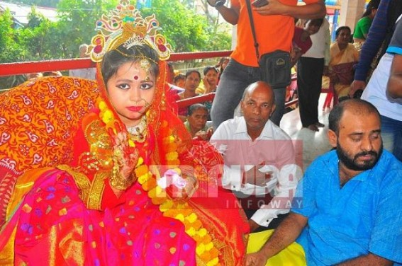 Kumari Puja marks annual  Kali Puja festival in Tripura : Devotees throng to temples, pandals to offer prayers to Goddess Kali