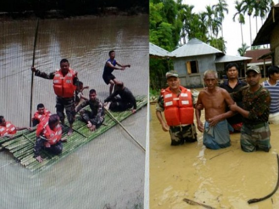 Tripura Flood : Rescue operation continues under Assam Rifles