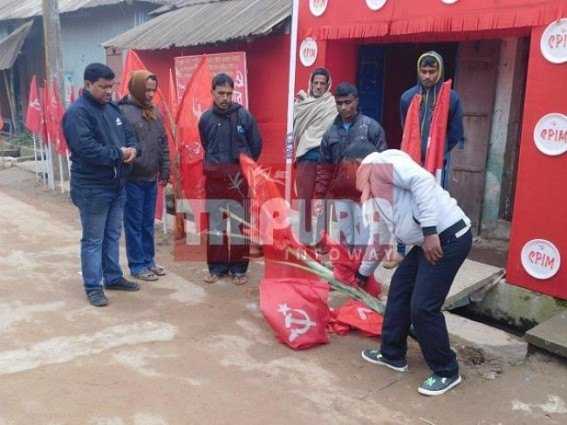 CPI-M booth office's flags, festoons damaged