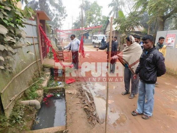 CPI-M's booth office attacked by miscreants on yesterday night at Bordowali. TIWN Pic Jan 14