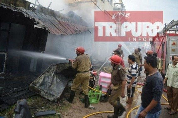 Fire blaze burnt shops in Agartala