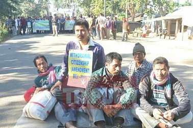 INPT blocks national highway at Baramura opposing proposed Citizenship Bill. TIWN Pic Dec 10