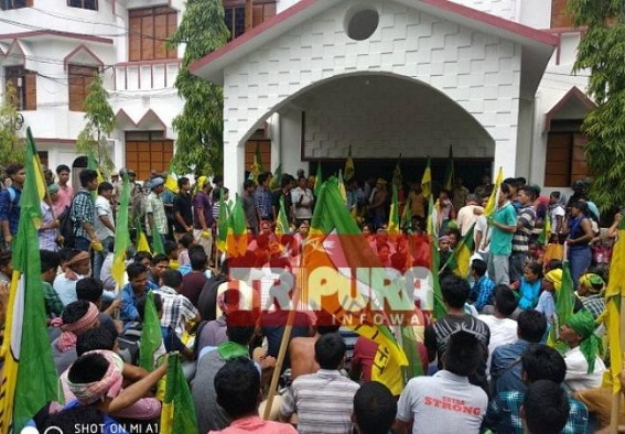 IPFT's anti-BJP unrest paralyze Development in Tripura, IPFT's hooligan acts continue  : IPFT gherao Killa BDO, locks from outside demanding resignation of BJP MLA Ramapada Jamatia from BAC Chairman's Post