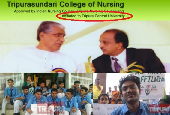 Tripurasundari college of Nursing continues false propaganda in Website as 'Affiliated to Tripura Central University'