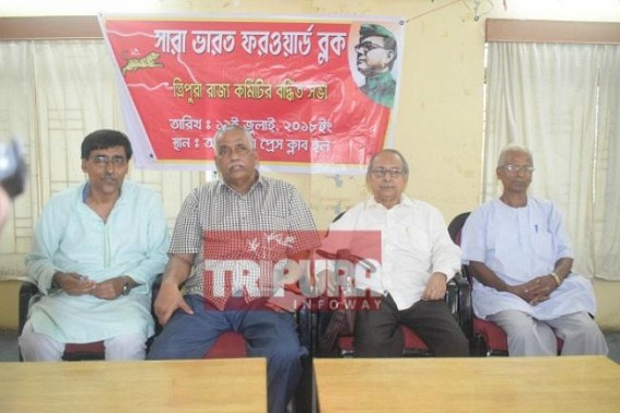 Forward Bloc General Secretary arrives Tripura, hits BJP Govt for 'Poor Law & Order'