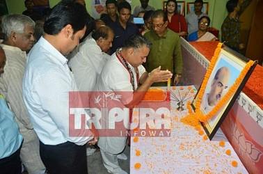 BJP State Observer Sunil Deodhar pays floral tributes to Shyama Prasad Mukherjee on his death anniversary. TIWN Pic June 23