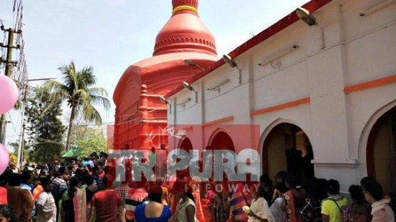 Devotees throng to Udaipur Matabari temple on Pohela Baishakh : Daylong unending rows before temple for 'Devi-Darshan'