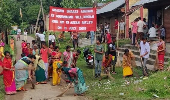Assam Rifles conducts 'Swacchata Drive'  in Khowai