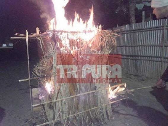 Children burn Burir-Ghor on Makar Sankranti