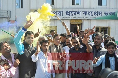 Tripura Congress begins celebration as Party leads in BJP ruled states. TIWN Pic Dec 11