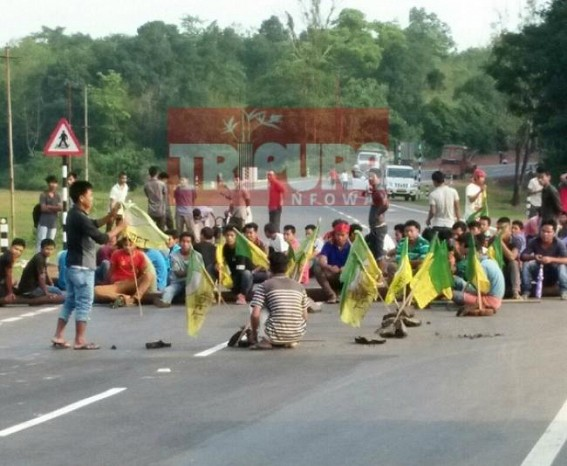 Unholy BJP-IPFT alliance's abnormal outcome : Unrest by IPFT even after getting Two Cabinet Minister Posts,  National Highway blockade hits South Tripura