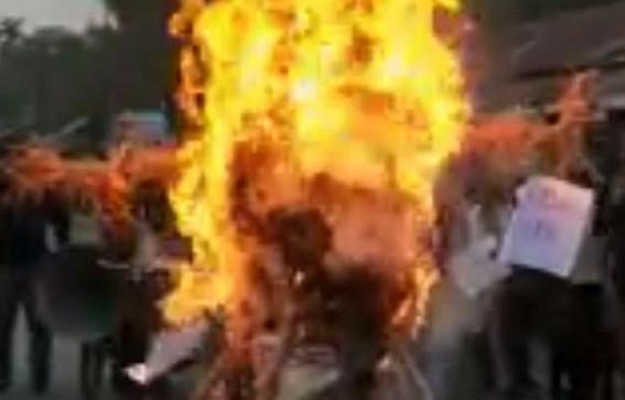 Tripura regional parties burnt Biplab Deb's effigy, demanded step down