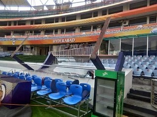 Gusty winds damage canopy at Hyderabad stadium