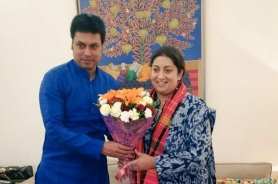 CM Biplab Deb met Union Textile Minister Smriti Irani, 'Minister to visit Tripura soon'
