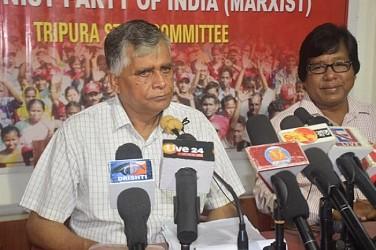 CPI-M State General Secretary Gautam Das addressing media. TIWN Pic June 16