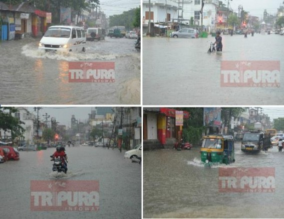 Tripura Capital's Water-logging continue in HIRA Era ! AMC's lackluster work culture, PWD's corruption, Cement covered Drains, No proper planning, No solution in sight