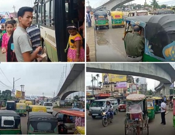 Unruly drivers showed 'thumbs down' to Traffic Rules : Agartala hit by traffic jam, Traffic Dept in slumber