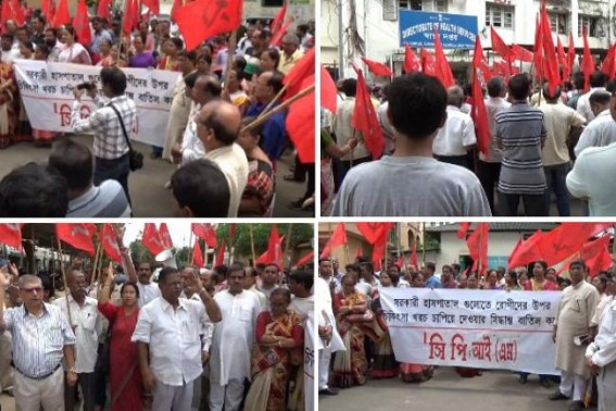 CPI-M's massive protest across Tripura demanding re-installation of free medical service in Govt hospitals