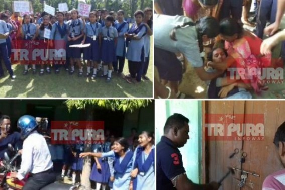 Massive protest in Tripura School over favorite Teacher's forceful transfer by BJP leaders : Innocent students' protest exposed JUMLA-Education system under Ratan Lal